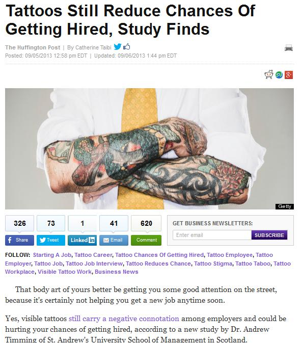 tattoos still reduce chances of getting hired