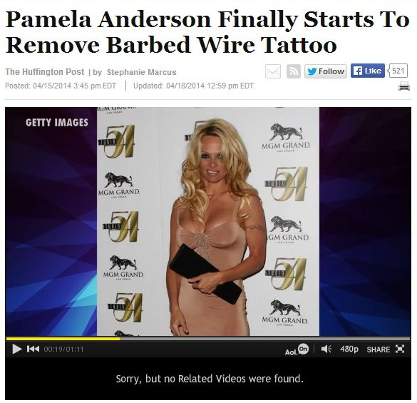pamela anderson finally starts to remove barbed wire tattoo